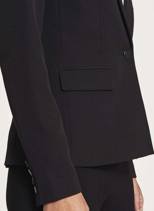 Blazer à col cranté et poches à rabats, Noir, hi-res