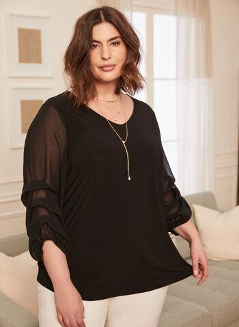 Gathered Chiffon Sleeve Top, Black,  top, 3/4 sleeves, gathered, chiffon, spring summer 2020