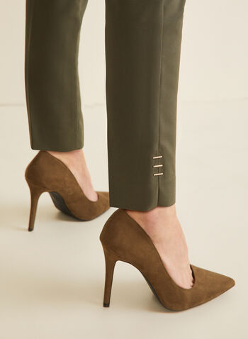 Pantalon coupe cité à jambe étroite, Vert,  pantalon, cité, jambe étroite, pinces, détails métallisés, printemps été 2020
