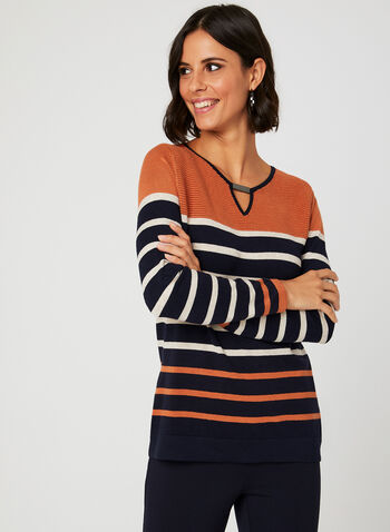 Stripe Knit Keyhole Neck Sweater, Blue, hi-res