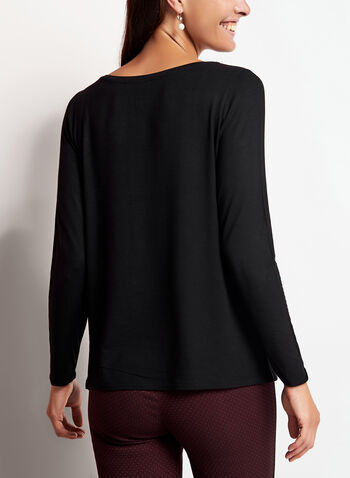 Long Sleeve Scoop Neck Top, Black, hi-res