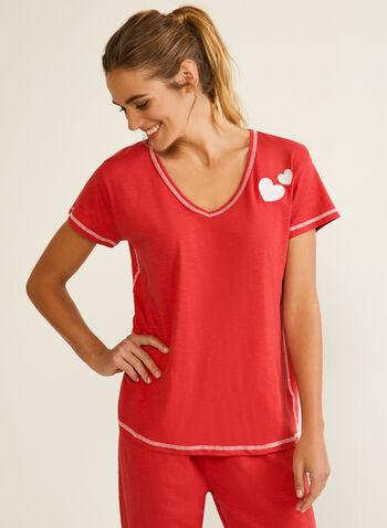 Contrast Stitch Pyjama Set, Red,  fall winter 2020, pyjama, set, contrast