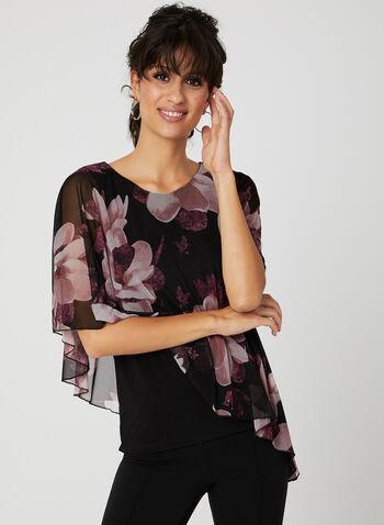 Blouse poncho à motif floral , Noir, hi-res