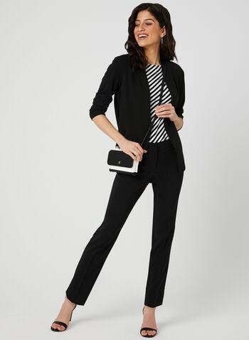 Stripe Print T-Shirt, Black,  short sleeves, crystals, spring 2019