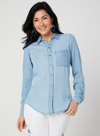 GG Jeans - Tencel Blouse, Blue, hi-res