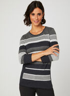 Studded Crew Neck Knit Sweater, Grey, hi-res