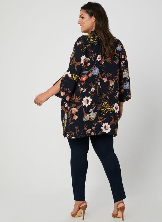 Kimono en mousseline fleurie, Bleu