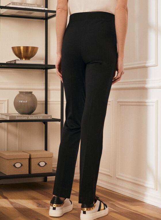 Pantalon pull-on à jambe droite, Noir