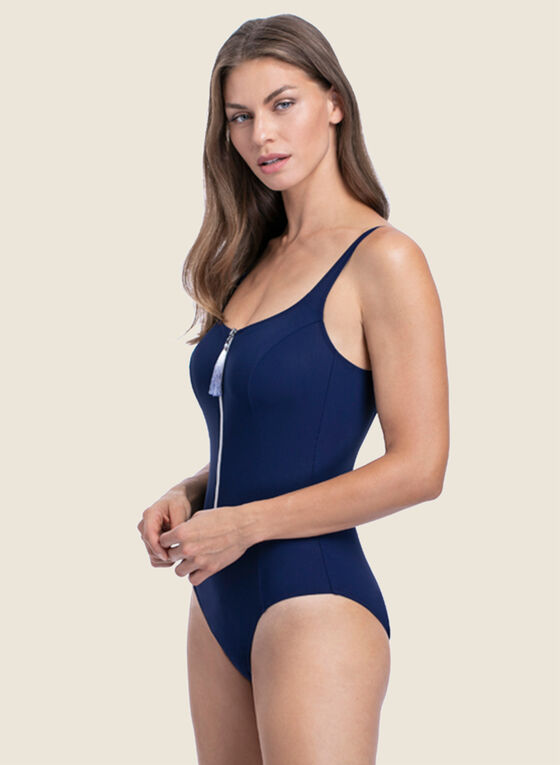 Profile by Gottex - Zipper Detail One-Piece Swimsuit, Blue