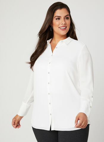 Button Down Tunic, Off White, hi-res