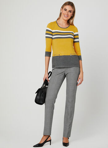 ¾ Sleeve Knit Top, Yellow, hi-res