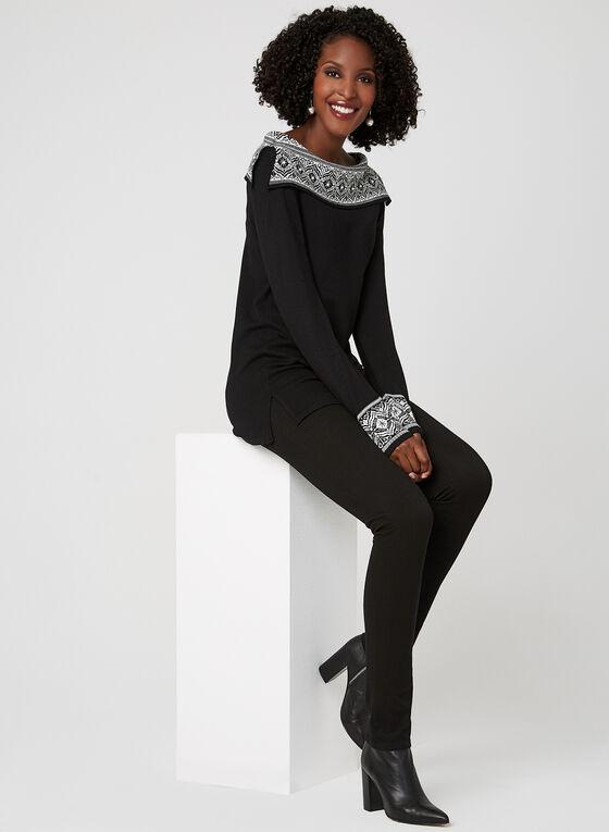 Knit Boat Neck Top, Black, hi-res