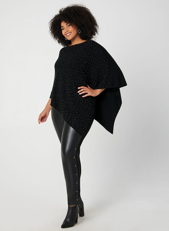 Crystal Embellished Poncho, Black