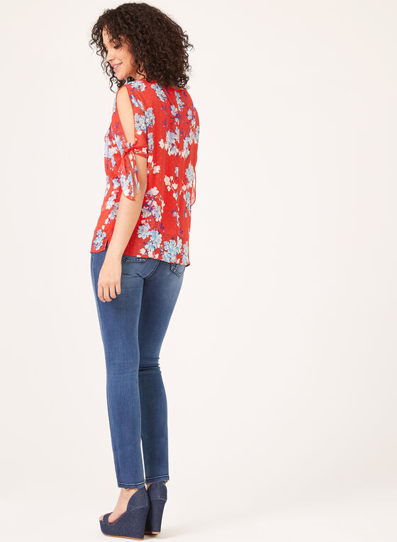 ¾ Sleeve Floral Blouse, Red, hi-res