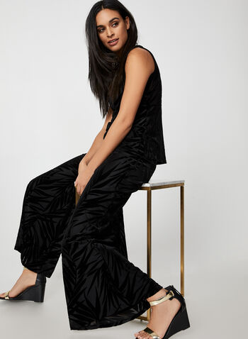 Wide Leg Velour Leaf Print Pants, Black, hi-res,  canada, velour pants, modern fit pants, pants, pull-on, elastic pants, wide leg, velour, holiday, fall 2019, winter 2019