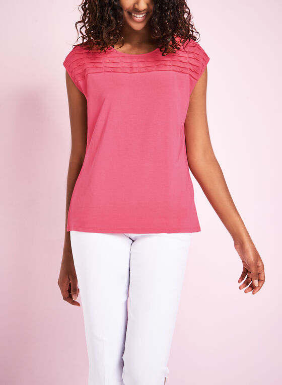 Sleeveless Pleated Chiffon Top, Pink, hi-res