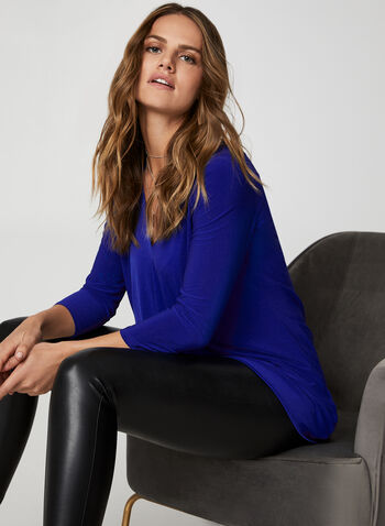 V-Neck Asymmetrical Tunic, Blue,  canada, top, asymmetrical top, 3/4 sleeves, v-neck, tunic, fall 2019, winter 2019