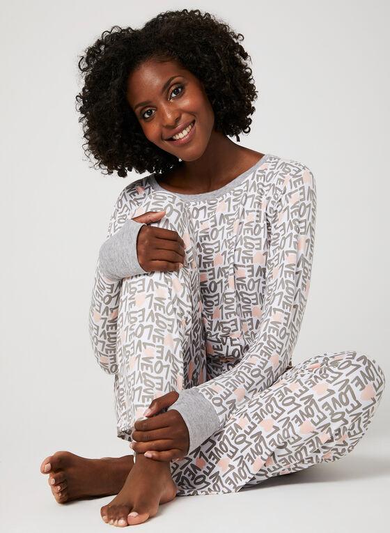 Pillow Talk - Heart Print Pyjama Set , Grey, hi-res
