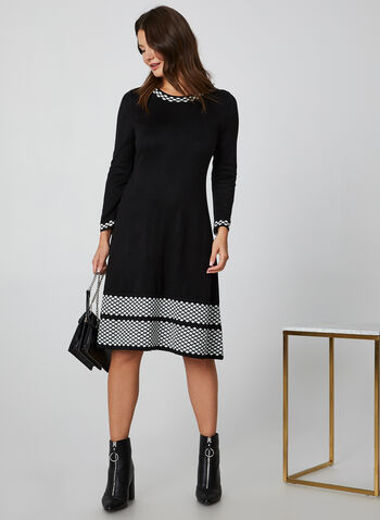 Fit & Flare Sweater Dress, Black,  sweater dress, sweater, dress, diamond print, print dress, flare dress, fall 2019, winter 2019
