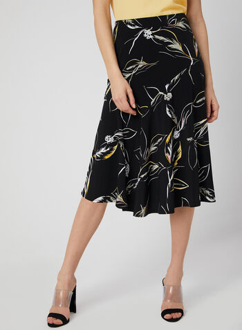 Leaf Print A-Line Skirt, Black, hi-res