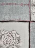 Rose Print Scarf, Grey