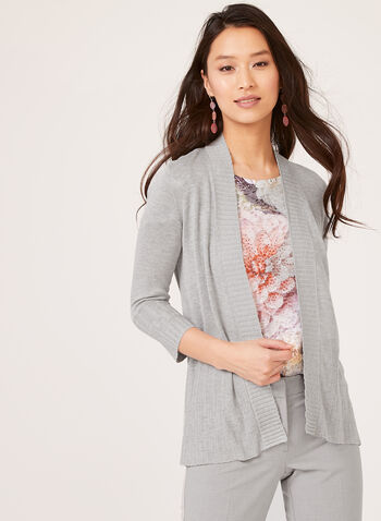 ¾ Sleeve Open Front Cardigan, Grey, hi-res