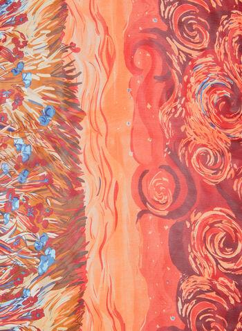 Landscape Print Scarf, Red, hi-res