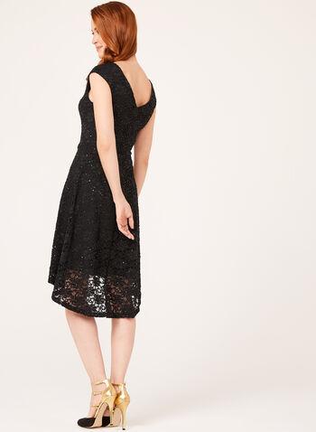 Robe asymétrique en dentelle et sequins, Noir, hi-res