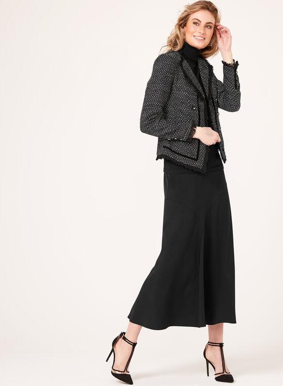 Long Flared Panel Skirt, Black, hi-res