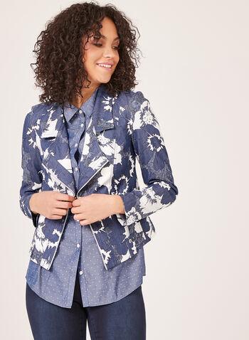 Vex - Blazer en denim à motif floral, Bleu, hi-res