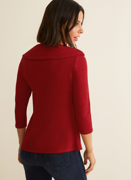 Button Detailed Cowl Neck Top, Red