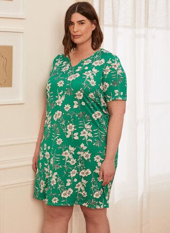 Floral Print Nightgown, Green,  spring summer 2021, made in Canada, sleepwear, pj, pyjama, nightgown, nightshirt, split neck, short sleeve, floral print, comfort, soft, stretch