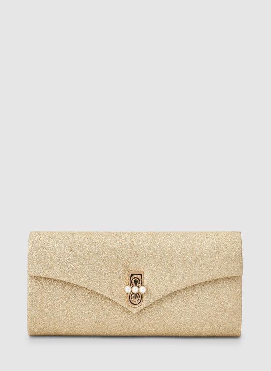 Glitter Envelope Clutch , Gold