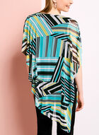 Stripe Print Cold Shoulder Poncho Blouse, Blue, hi-res