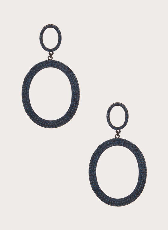 Boucles d'oreilles avec pendants ovales en cristaux, Bleu, hi-res