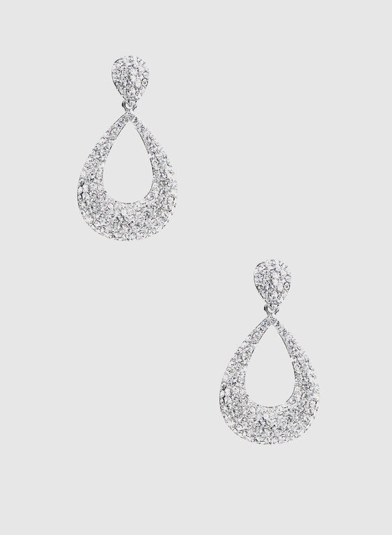 Crystal Teardrop Earrings , Silver