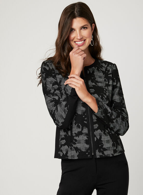 Floral & Glen Check Print Jacket, Black, hi-res
