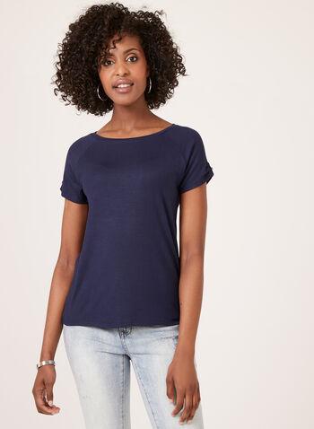 Raglan Cap Sleeve T-Shirt , Blue, hi-res