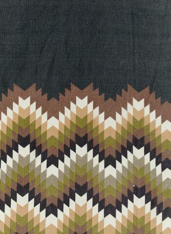 Zigzag Print Trim Scarf , Green, hi-res