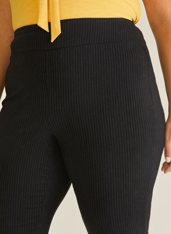 Stripe Print Pull-On Pants, Black