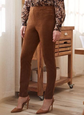 Zipper Detail Faux Suede Leggings, Brown,  fall winter 2020, leggings, pull-on, elastic waist, suede, zipper