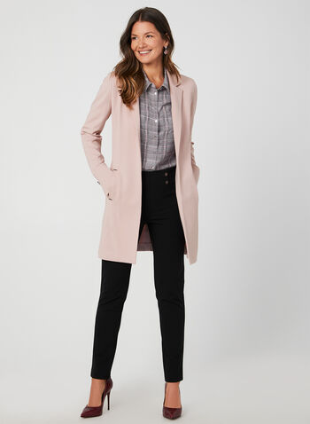 Long Notched Lapel Collar Blazer, Purple,  long jacket, edge-to-edge front, long blazer