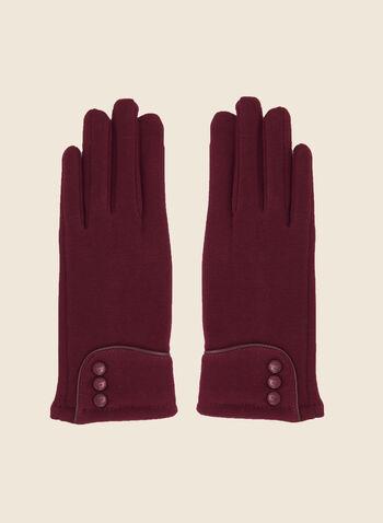 Gants à revers et boutons, Rouge,  automne hiver 2020, tricot, boutons, revers