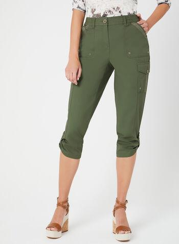 Capri cargo à coupe moderne, Vert, hi-res,  œillets, poches, printemps 2019, jambe droite