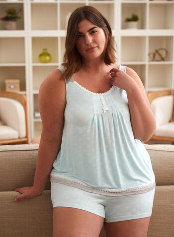 Lace Detail Pyjama Set, Blue,  spring summer 2021, pj, pyjama, set, sleepwear, cami, tank, shorts, geometric print, wide strap, lace, comfort, pull-on, pull on, elastic waist