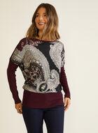 Paisley Print Dolman Sleeve Sweater, Purple