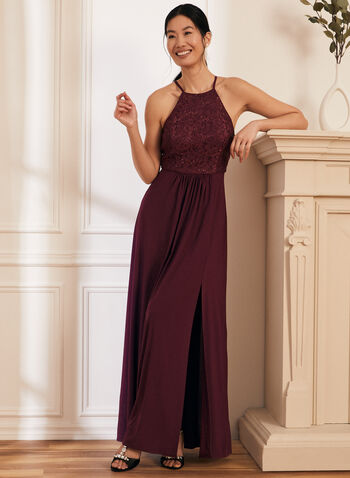 Robe au corsage de dentelle pailletée, Violet,  printemps été 2021, robe, robe de soirée, sans manches, fines bretelles, dentelle, paillettes, brillants, jupe plissée