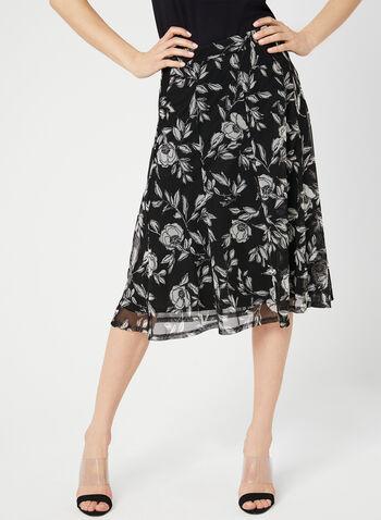 Jupe en maille filet avec imprimé floral, Noir, hi-res