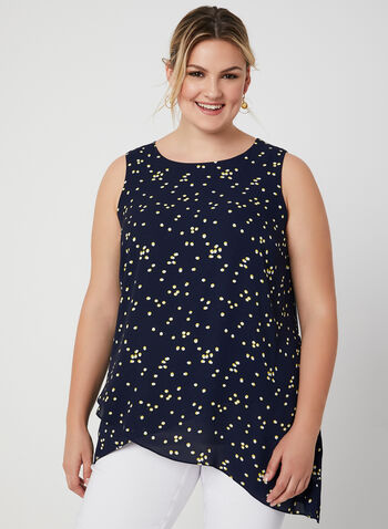 Dot Print Sleeveless Top, Blue, hi-res,  fall 2019, winter 2019, chiffon, jersey, sleeveless