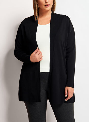 Open Front Oversize Knit Cardigan, Black, hi-res